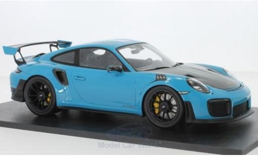 Porsche 911 1/18 Spark (991.2) GT2 RS bleue/carbon 2018 miniature