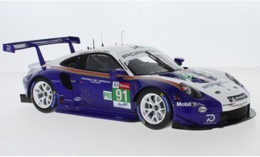 Porsche 991 RSR 1/64 Spark 911  No.91 GT Team 24h Le Mans 2018 R.Lietz/G.Bruni/F.Makowiecki miniature