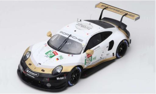 Porsche 992 RSR 1/18 Spark 911 (991) No.92 GT Team 24h Le Mans 2019 M.Christensen/K.Estre/L.Vanthoor miniature