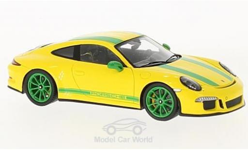 Porsche 991 R 1/43 Spark 911 yellow/green 2017 diecast model cars