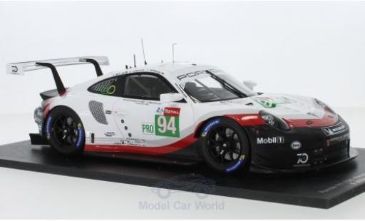 Porsche 991 RSR 1/18 Spark 911 No.94 GT Team 24h Le Mans 2018 R.Dumas/T.Bernhard/S.Müller diecast model cars