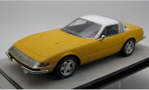 Ferrari 365 1/18 Tecnomodel GTB/4 Daytona Coupe Speciale jaune/blanche 1969 miniature