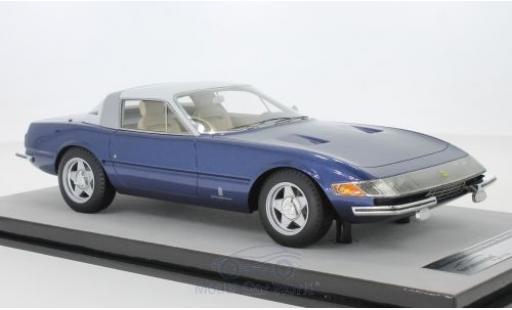 Ferrari 365 1/18 Tecnomodel GTB/4 Daytona Coupe Speciale métallisé bleue/blanche 1969 miniature