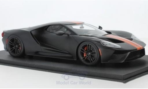 Ford GT 1/18 Top Speed matt-noire/orange miniature