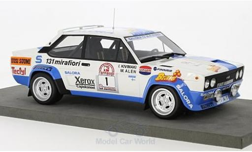 Fiat 131 Abarth 1/18 Topmarques Collectibles Abarth No.1 Rallye WM 1000 Lakes Rallye 1980 M.Alen/I.Kivimaki diecast