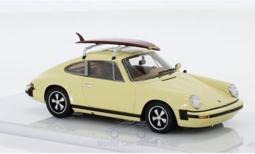Porsche 911 1/43 TrueScale Miniatures S 2.7 beige 1977 mit Surfboard auf Dachgepäckträger miniature