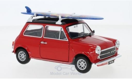Mini Cooper 1/24 Welly 1300 rouge/noire 1974 mit Surfboard miniature