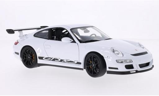Porsche 997 GT3 RS 1/18 Welly 911  white/Dekor diecast model cars