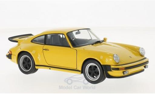 Porsche 930 Turbo 1/24 Welly Turbo 3.0 jaune 1974 miniature