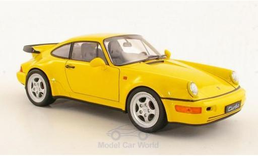 Porsche 964 Turbo 1/18 Welly 911  jaune miniature
