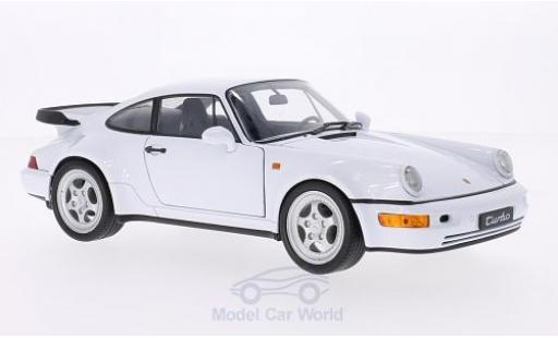 Porsche 911 1/18 Welly Turbo (964) blanche miniature