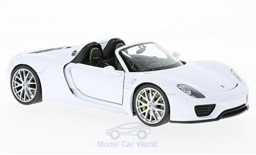 Porsche 918 1/24 Welly Spyder white offen diecast model cars