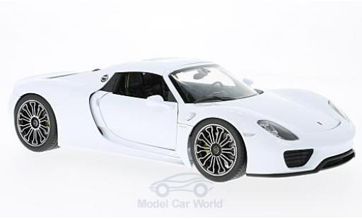 Porsche 918 1/18 Welly Spyder blanche/noire 2011 Hard Top ohne Vitrine miniature