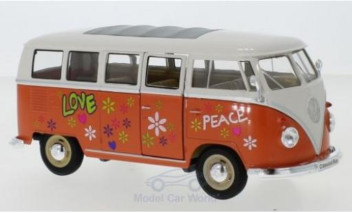 Volkswagen T1 1/24 Welly Bus orange/blanche 1963 Flower Power miniature
