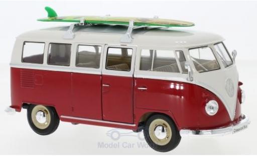 Volkswagen T1 1/24 Welly Bus rouge/blanche 1963 mit Dachgepäckträger und Surfboard miniature