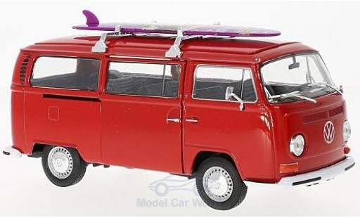 Volkswagen T2 B 1/24 Welly Bus red 1972 mit Surfboard diecast
