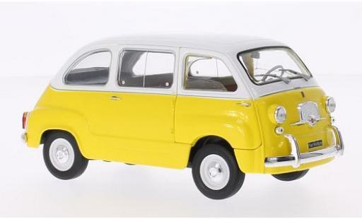 Fiat 600 1/24 WhiteBox Multipla jaune/blanche 1960 miniature