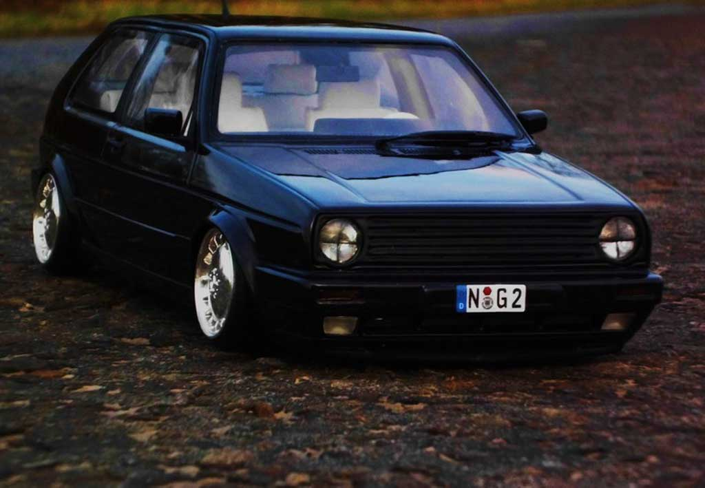 Volkswagen Golf 2 GTI 1/18 Ottomobile 16S noire jantes 17 pouces mercedes