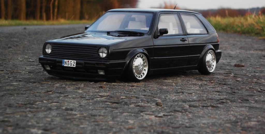 volkswagen golf 2 gti miniature 16s noire jantes 17 pouces mercedes ottomobile 1 18 voiture. Black Bedroom Furniture Sets. Home Design Ideas