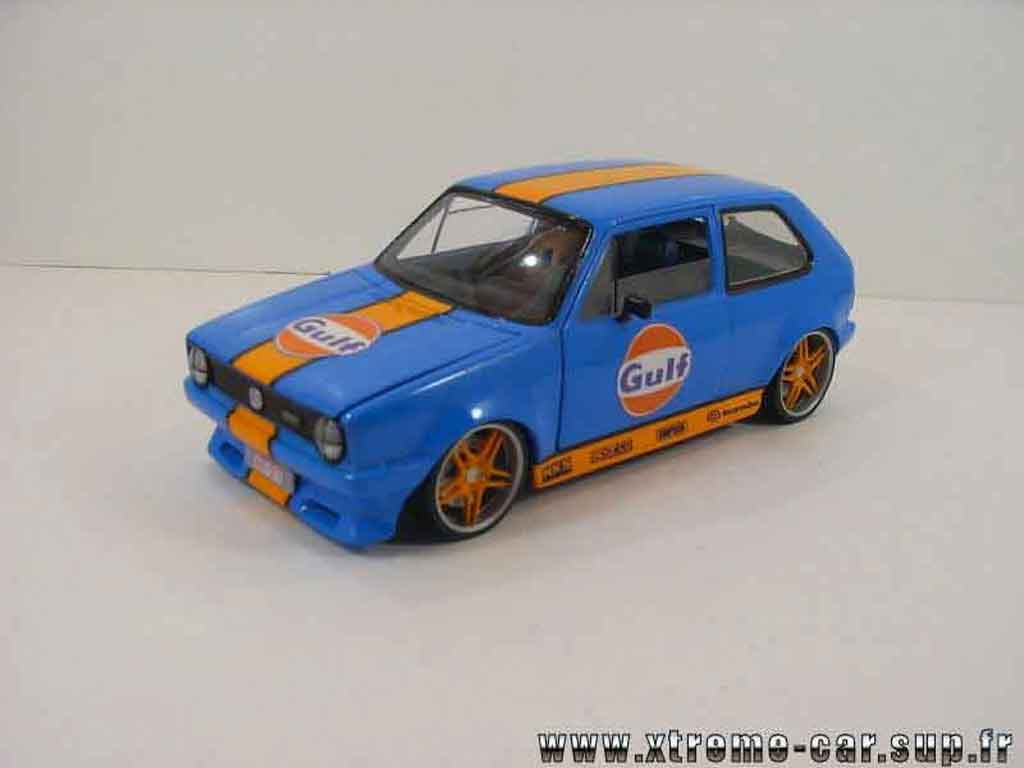 Volkswagen Golf 1 GTI 1/18 Solido gulf bleue tuning miniature