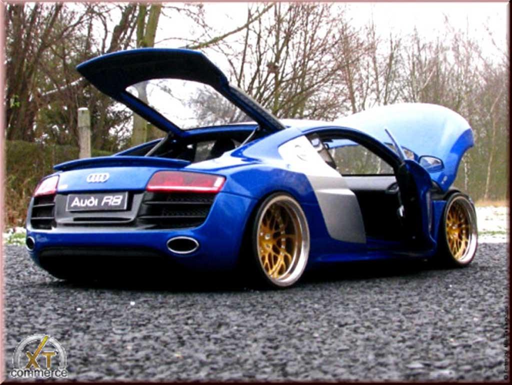 Audi R8 5.2 FSI 1/18 Kyosho bleu jantes bbs 20 pouces