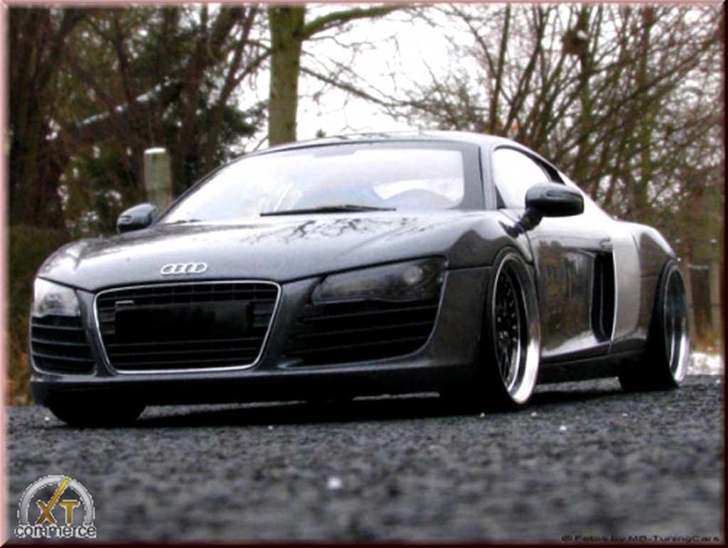 Audi R8 4.2. FSI 1/18 Maisto v8 grau antracite jantes 21 pouces prepa moteur tuning modellautos