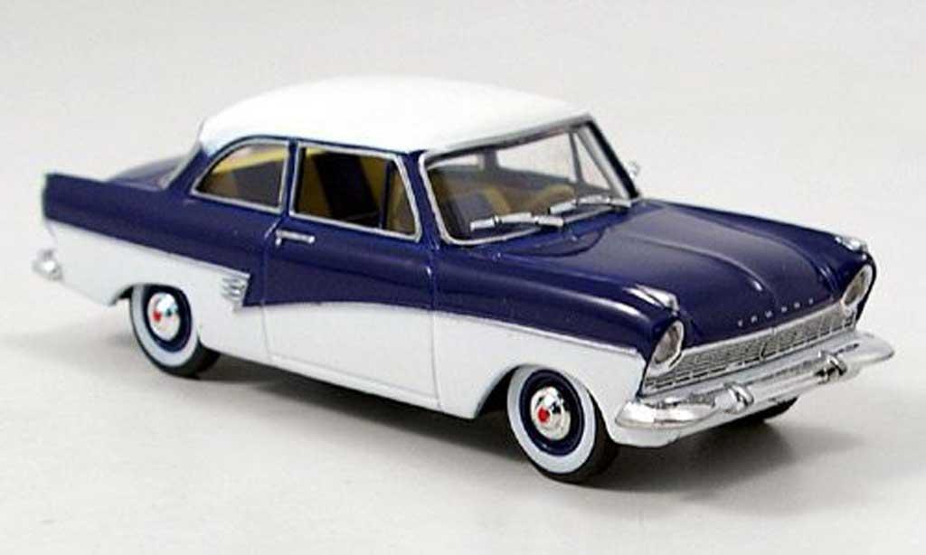 Ford Taunus 1957 1/43 Solido 17 M (P2) blanche/bleue miniature