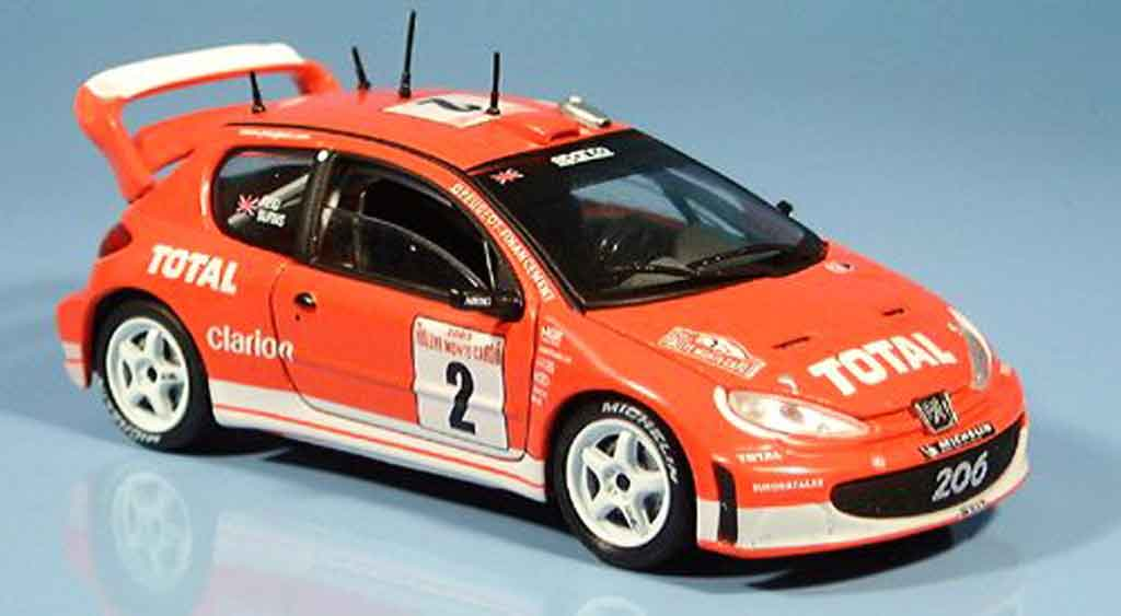 Miniature Peugeot 206 WRC reid burns no. 2 2003 Solido. Peugeot 206 WRC reid burns no. 2 2003 miniature 1/43
