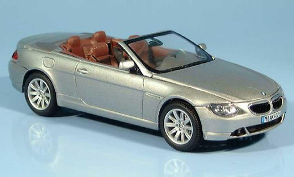 Bmw 635 E64 1/43 Kyosho d Cabriolet grigia 2004 miniatura