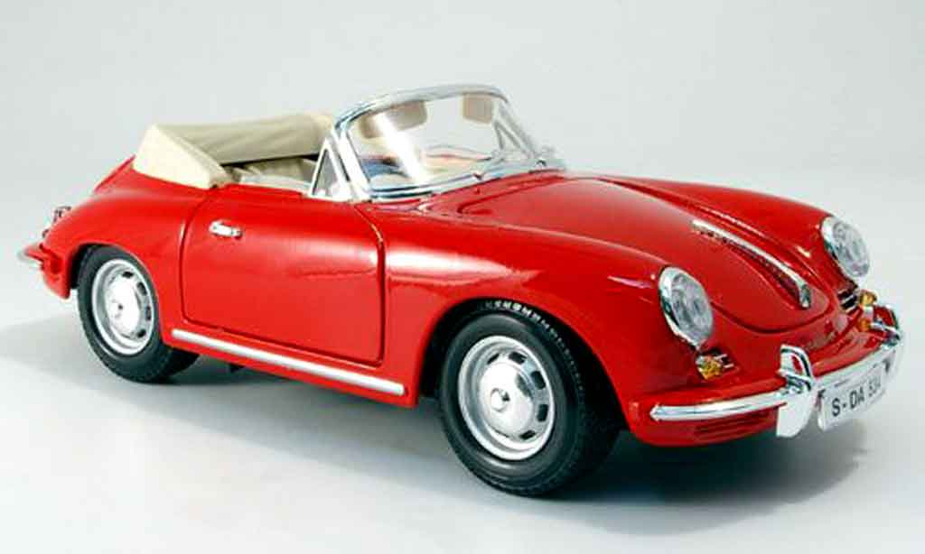 Porsche 356 1961 1/18 Burago B cabriolet rouge miniature