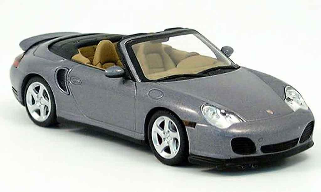 Porsche 996 Turbo 1/43 Minichamps Cabriolet grise 2003 miniature