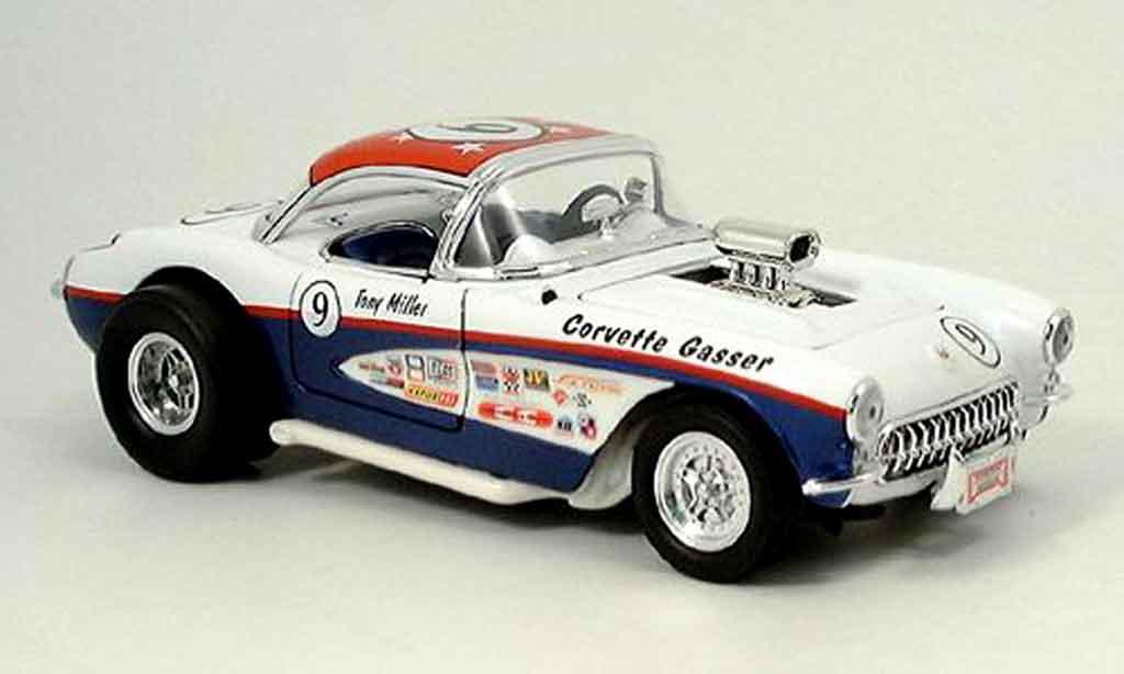 Chevrolet Corvette C1 1/18 Yat Ming gasser blanche bleu no.9 1957 miniature