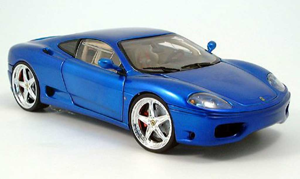 Ferrari 360 Modena 1/18 Hot Wheels tuning bleue 2003 miniature