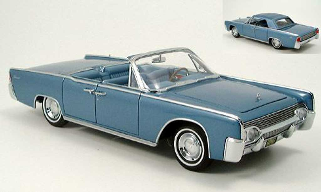 Lincoln Continental 1961 1/18 Yat Ming cabriolet bleu miniature