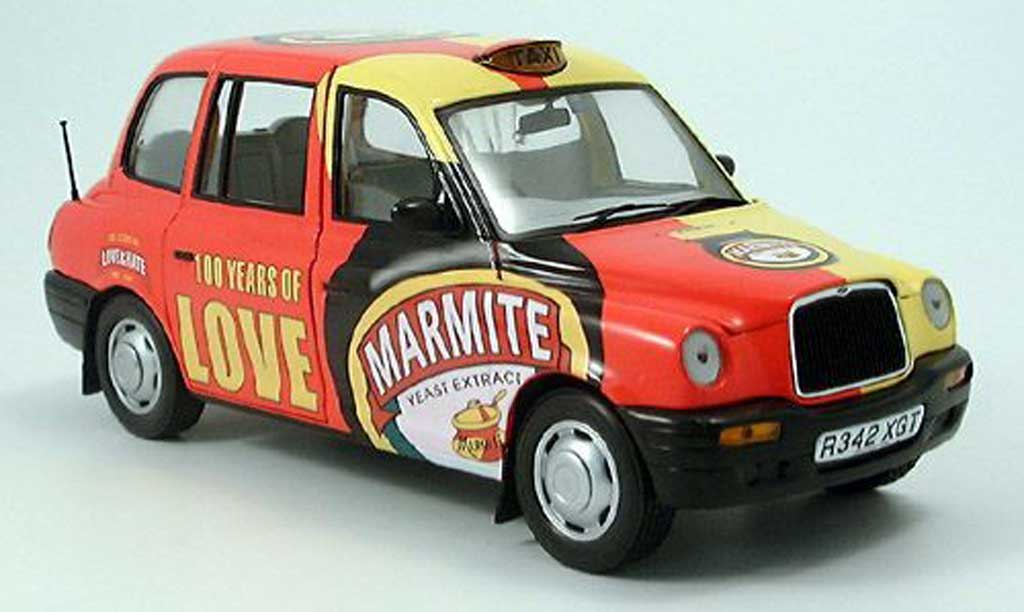 LTI TXI 1/18 Sun Star London Taxi jaune-rouge Marmite 1988 miniature