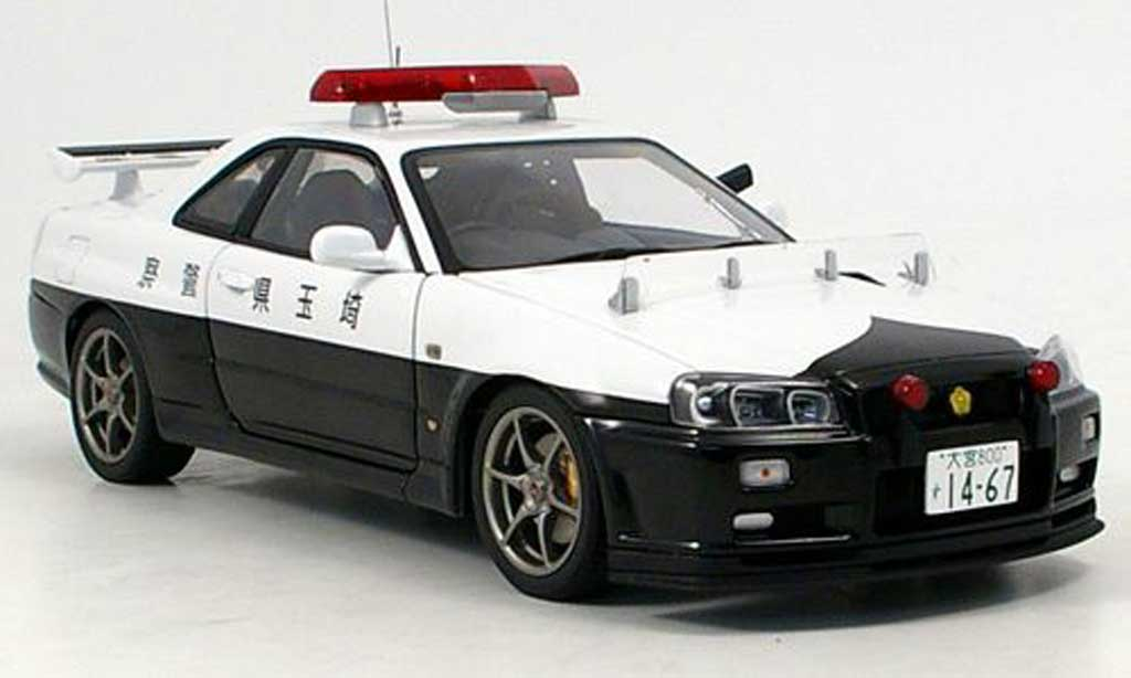 nissan skyline r34 gtr police autoart modellauto 1 18. Black Bedroom Furniture Sets. Home Design Ideas