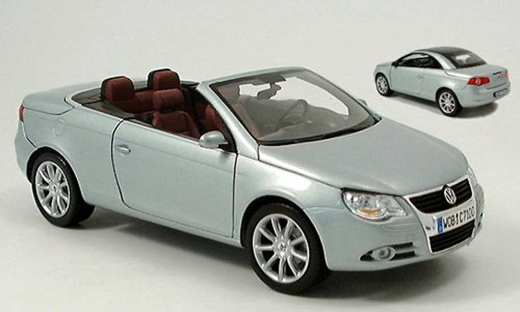 volkswagen eos miniature grise metallisee bleu cabriolet coupe 2006 norev 1 18 voiture. Black Bedroom Furniture Sets. Home Design Ideas