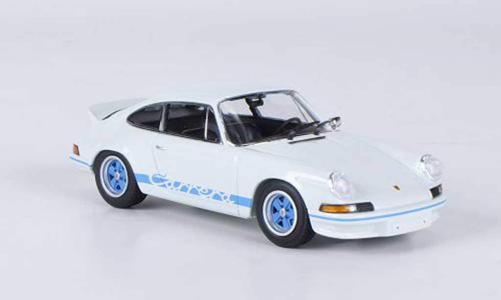 Porsche 911 1/43 Minichamps Carrera  27 white avec bluen Streifen 1972 diecast