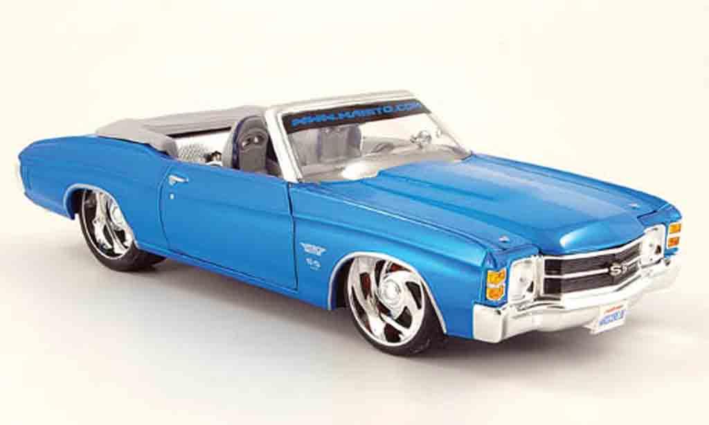 Chevrolet Chevelle 1971 1/18 Maisto cabrio prorodz bleu SS454 miniature