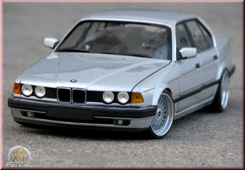 Bmw 730 E32 grigio ruote bbs bords larges echappement inox tuning Minichamps. Bmw 730 E32 grigio ruote bbs bords larges echappement inox modellini 1/18