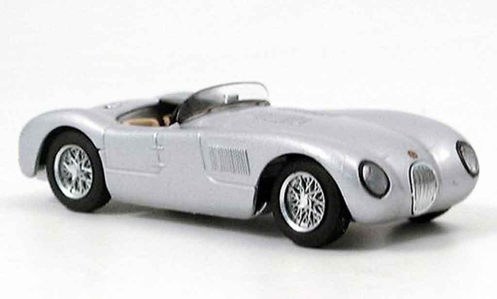 Jaguar C-Type 1/43 Brumm stradale grise metallisee miniature