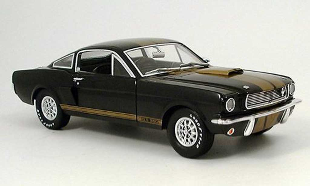 Shelby GT 350 1966 1/18 Shelby Collectibles h noire avec bandes or hertz miniature