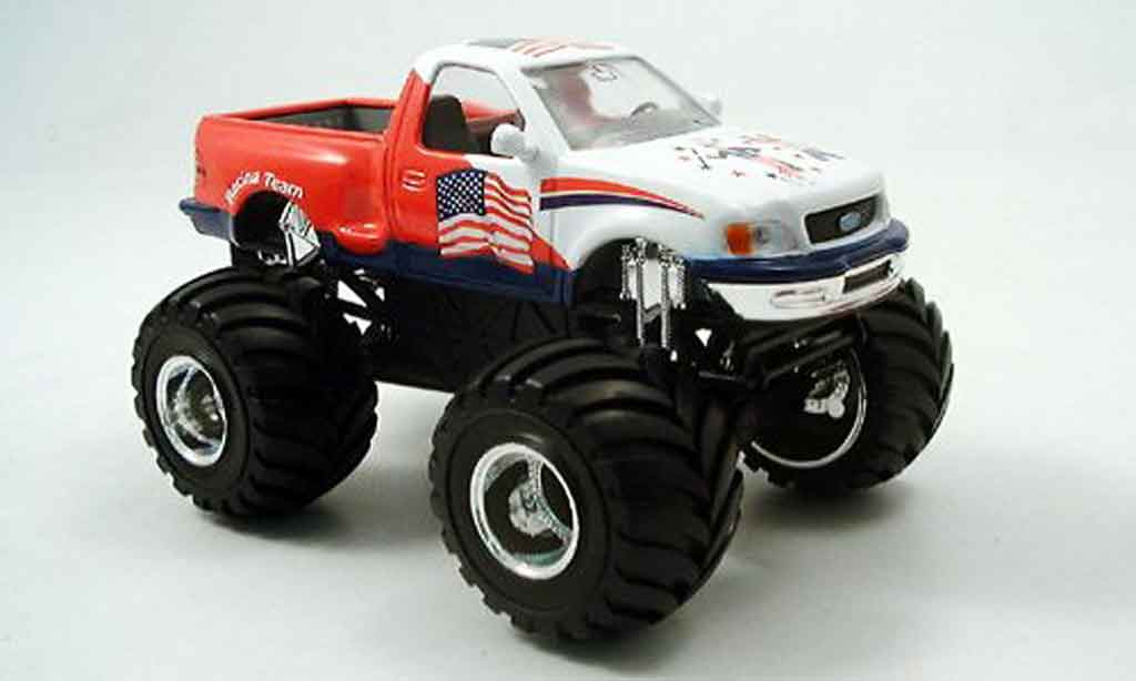 Ford F-150 1/43 Yat Ming F 150 Monster Truck blanche rouge 1997 miniature