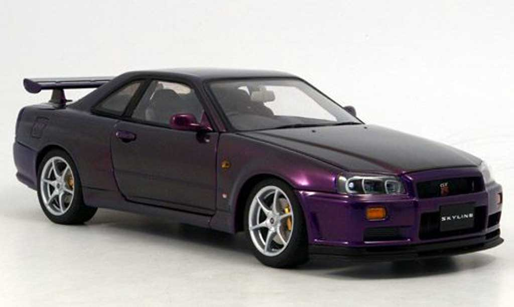 nissan skyline r34 gt r v spec ii purple autoart modellauto 1 18 kaufen verkauf modellauto. Black Bedroom Furniture Sets. Home Design Ideas