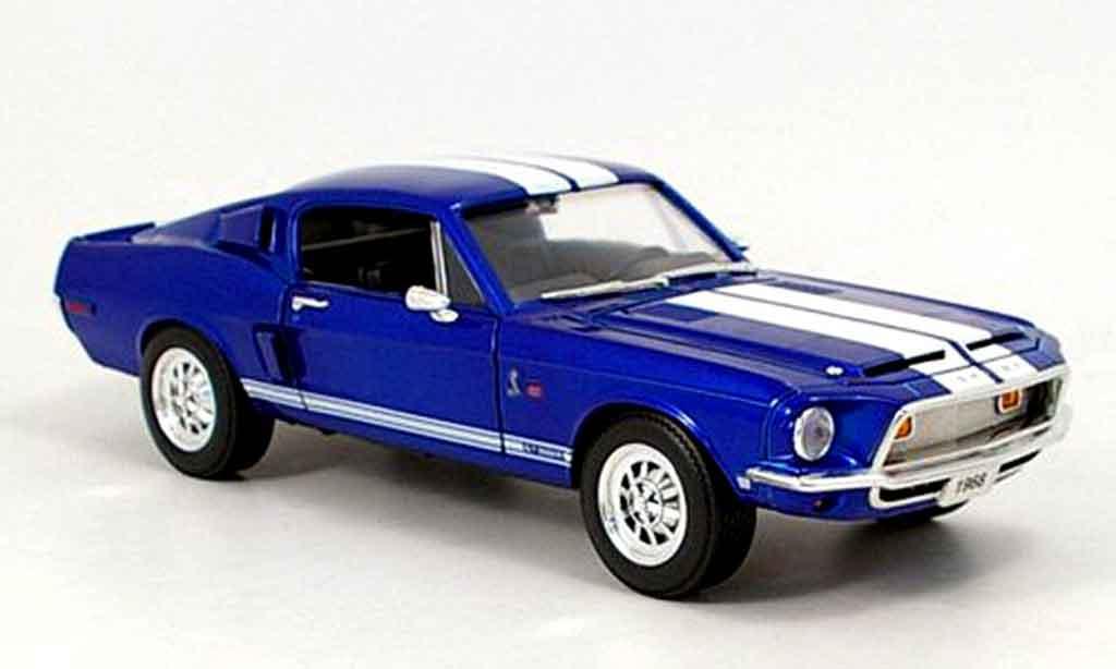 Shelby GT 500 1/18 Yat Ming kr bleu avec bandes blanches 1968 miniature