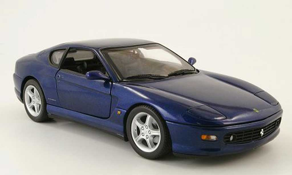 Ferrari 456 1/18 Hot Wheels m gt bleue miniature