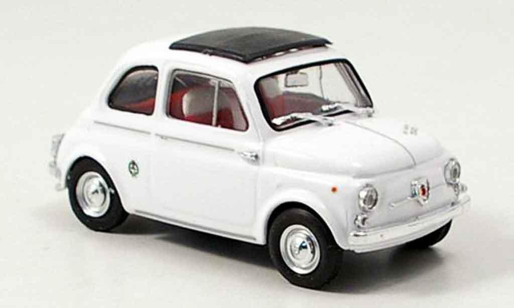 Fiat 595 1/43 Brumm Abarth blanche avec capote Faltdach 1963 miniature