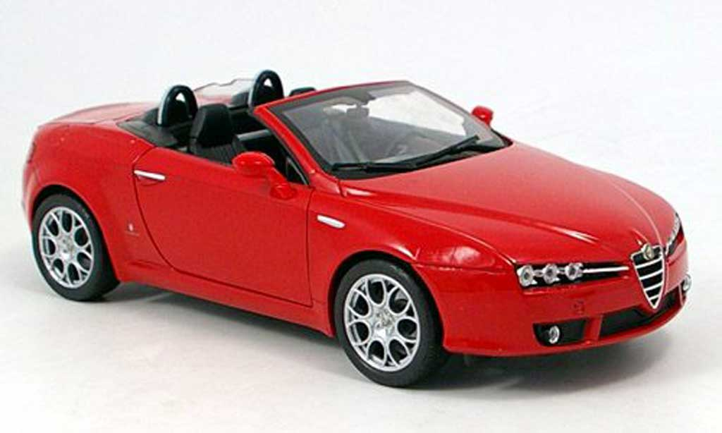 Alfa Romeo Spider 1/18 Welly rouge decapote 2007 miniature