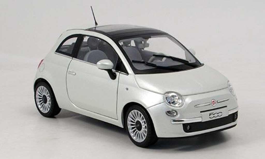 fiat 500 miniature blanche 2007 norev 1 18 voiture