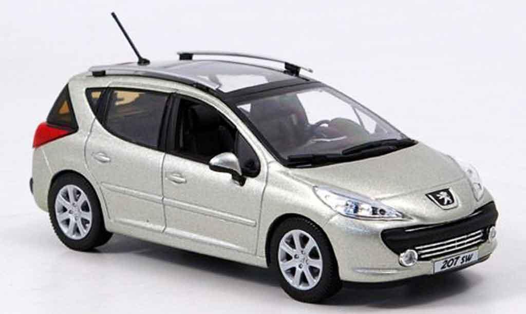 peugeot 207 sw miniature grise metallisee 2007 norev 1 43 voiture. Black Bedroom Furniture Sets. Home Design Ideas